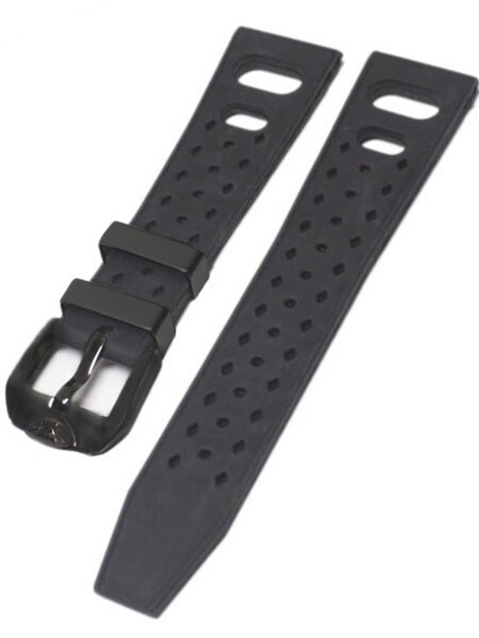 Squale Matic 22mm Black Tropic Rubber Dive Watch Strap #Matic-Trop-Black-PVD