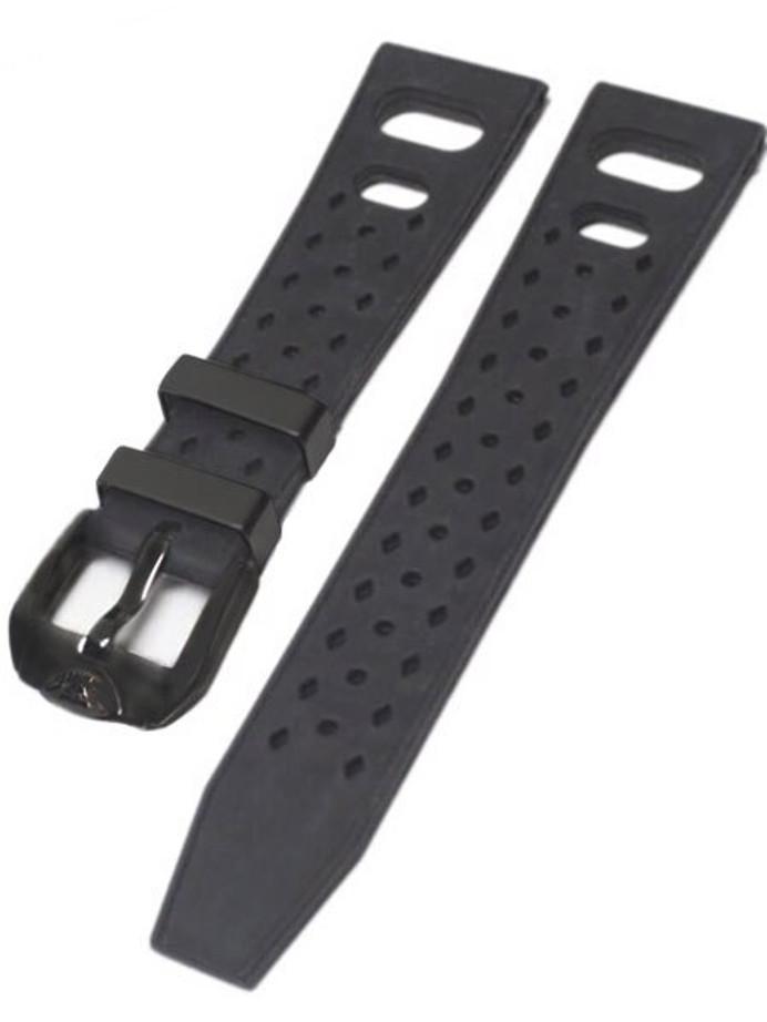 Squale Matic 22mm Black Tropic Rubber Dive Watch Strap #Matic-Trop-Black-PVD