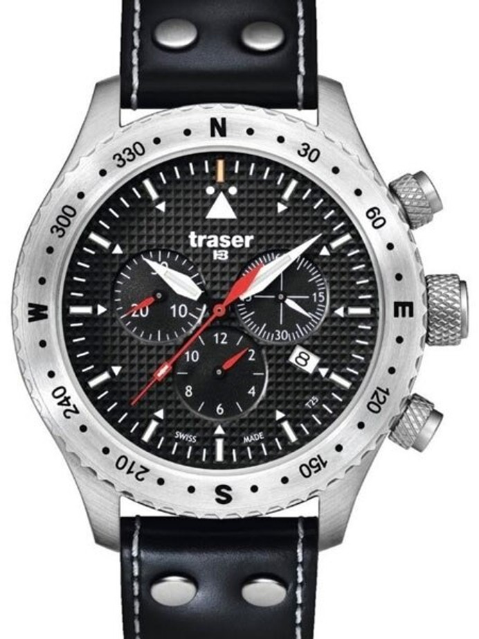 Traser Jungmann Aviator Chronograph Watch with Sapphire Crystal, 12-hour Totalizer #100384