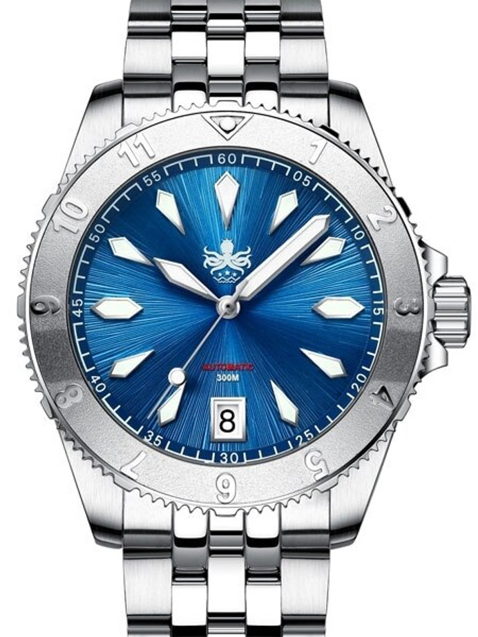 PHOIBOS Blue Voyager 300-Meter Automatic Dive Watch with Double Dome AR Sapphire Crystal #PY026B
