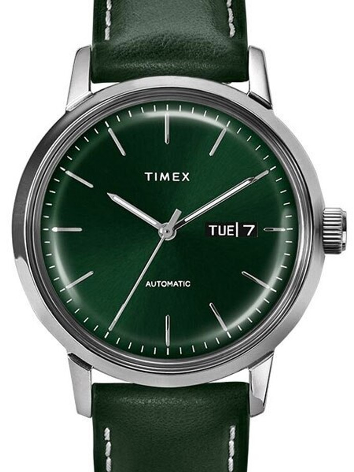 Timex 40mm Marlin 21-Jewel Automatic Watch with Stainless Steel Case and Green Dial #TW2U11900ZV