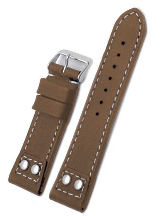 Toscana Brown Italian Calf Leather Watch Strap with Rivets at the Lugs PT-80