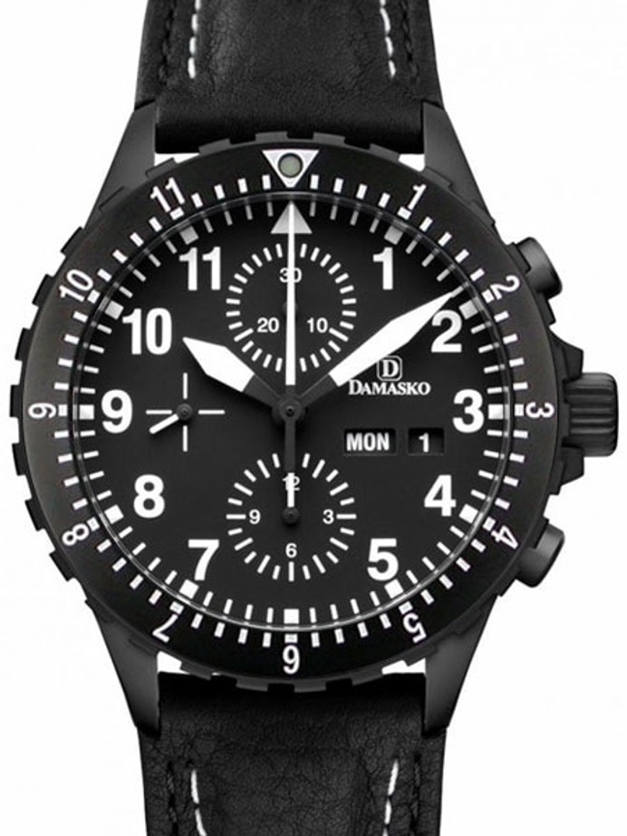 Damasko Swiss Valjoux 7750 Chronograph with Dual Time Bezel #DC66BK