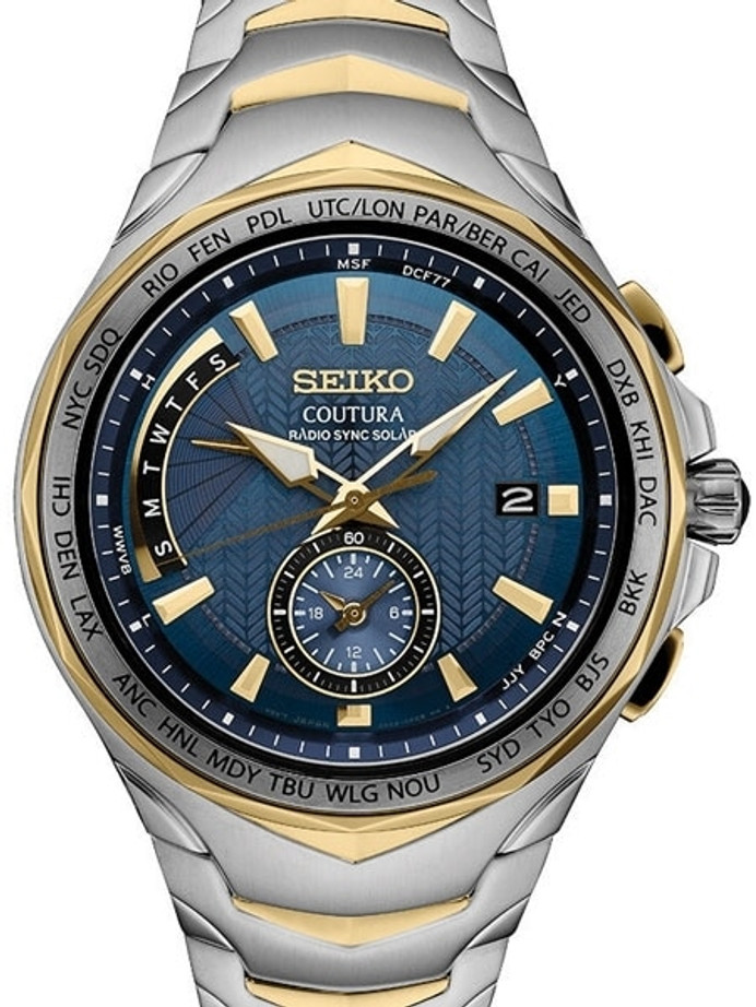 Seiko Coutura Radio Sync, Solar Powered, Dual Time, World Time Watch #SSG020