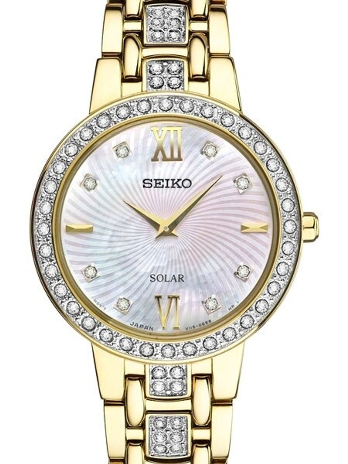 Seiko Ladies Solar Dress Watch with Swarovski Crystals, Mother of Pearl Dial #SUP364