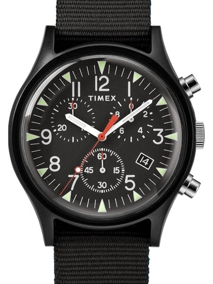 Timex 40mm MK1 Quartz Chronograph with Black Dial and INDIGLO Night-Light #TW2R67700VQ