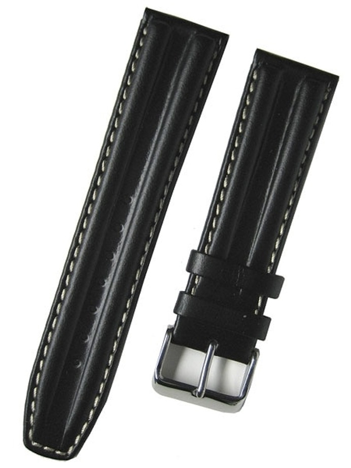Toscana Black Oil Tanned Double-Ridge Leather Watch Strap with Contrast Stitching #RB8-27330