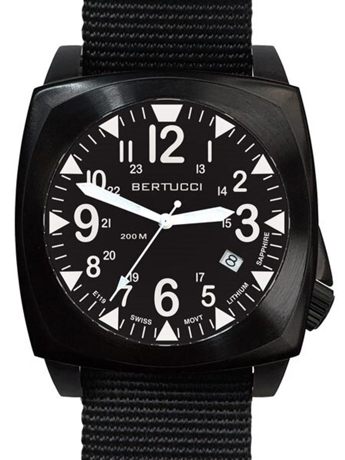 Bertucci E-1S Ballista 44mm Black Ion Field Watch with a Dome Sapphire Crystal #13600