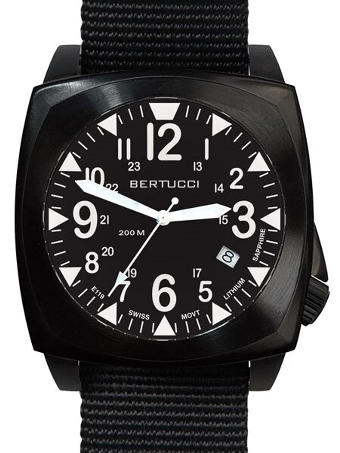 Bertucci E-1S Ballista 44mm Black Ion Field Watch with a Dome Sapphire Crystal #13600