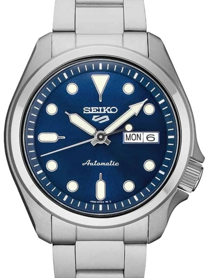 Seiko 5 Sports 24-Jewel Automatic Watch with Blue Dial and SS Bracelet #SRPE53