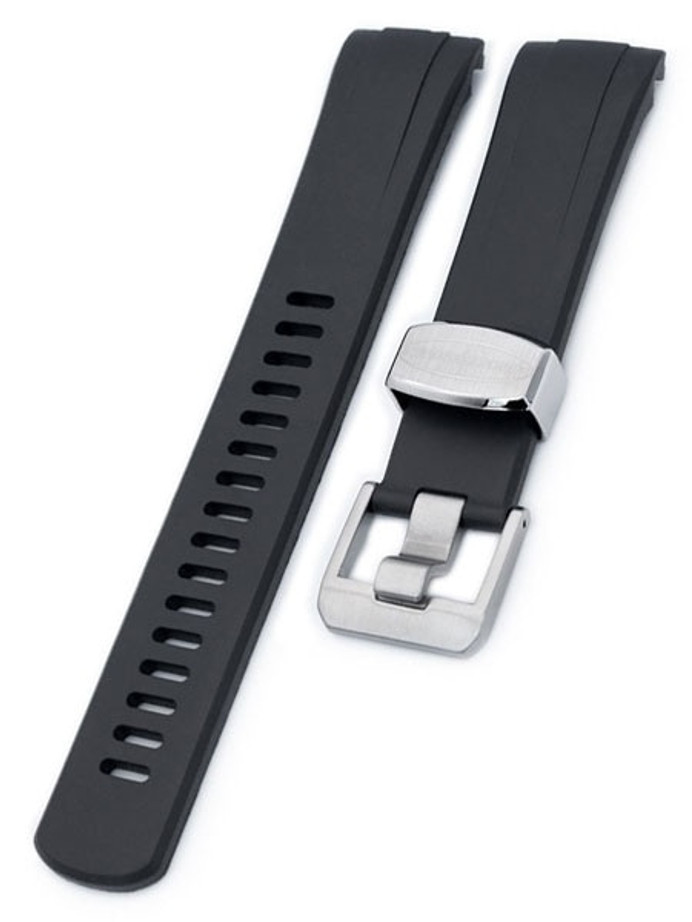 Crafter Blue 22mm Curved-End Rubber Watch Strap for Seiko Turtle #CB08-A