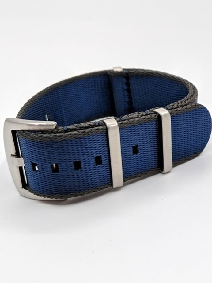 NATO-Style Royal Blue and Grey Seat Belt Weave Nylon Strap with Stainless Steel Buckle  #SB-01-SS