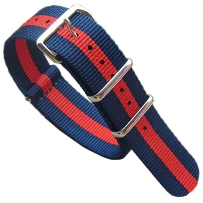 NATO-Style Blue Nylon Strap with Red Stripe and Stainless Steel Buckles  #NATO-13-SS