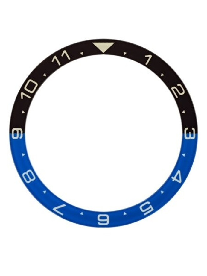 """Batman"" (Dual-Time) Luminous Sapphire Bezel Insert for Seiko SKX007, SKX009, SKX011 #C33"