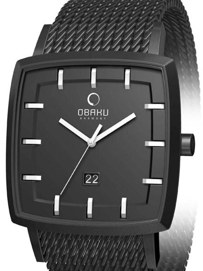 Obaku Harmony 40mm Wide Quartz Watch with Black Mesh Bracelet #V134GBBMB