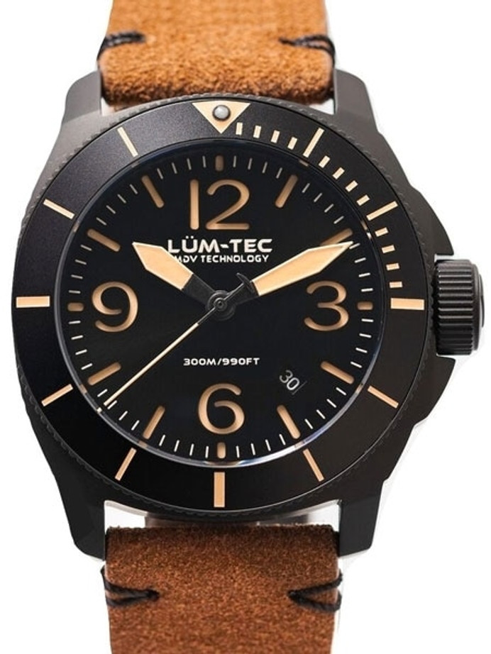 Lum-Tec 44mm Swiss Quartz PVD Dive Watch with AR Sapphire Crystal, Luminous Bezel #M87