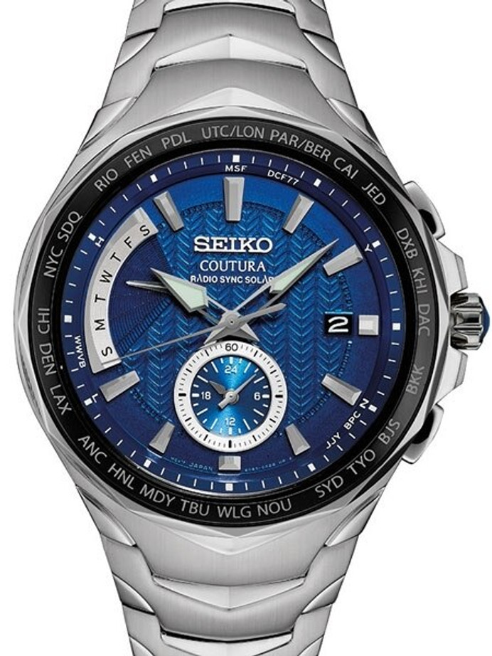 Seiko Coutura Radio Sync, Solar Powered, Dual Time, World Time Watch #SSG019