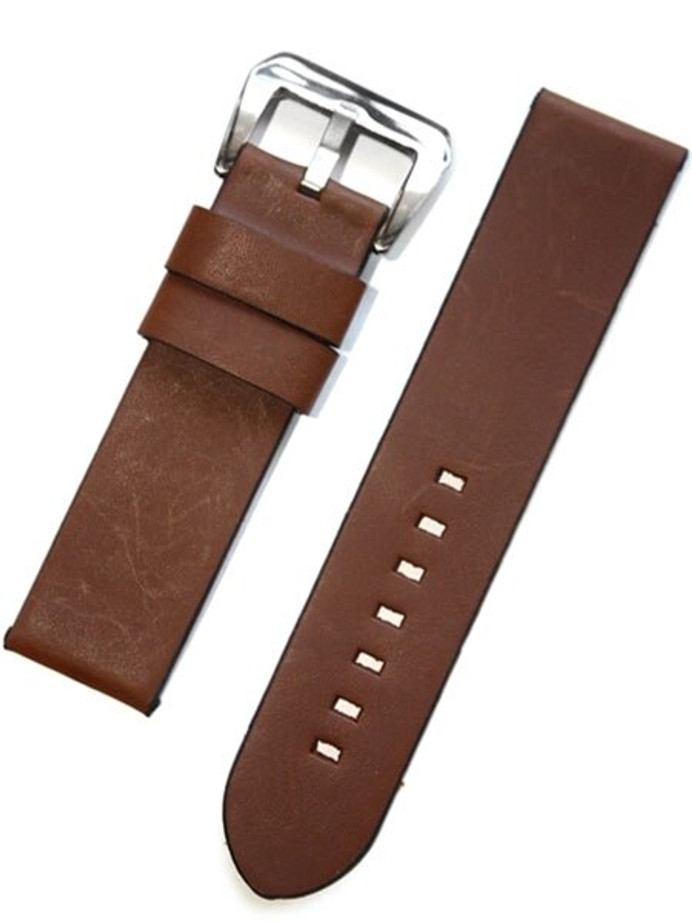 Panerai-Style Italian Vintage Brown Leather Watch Strap #DIY-38310