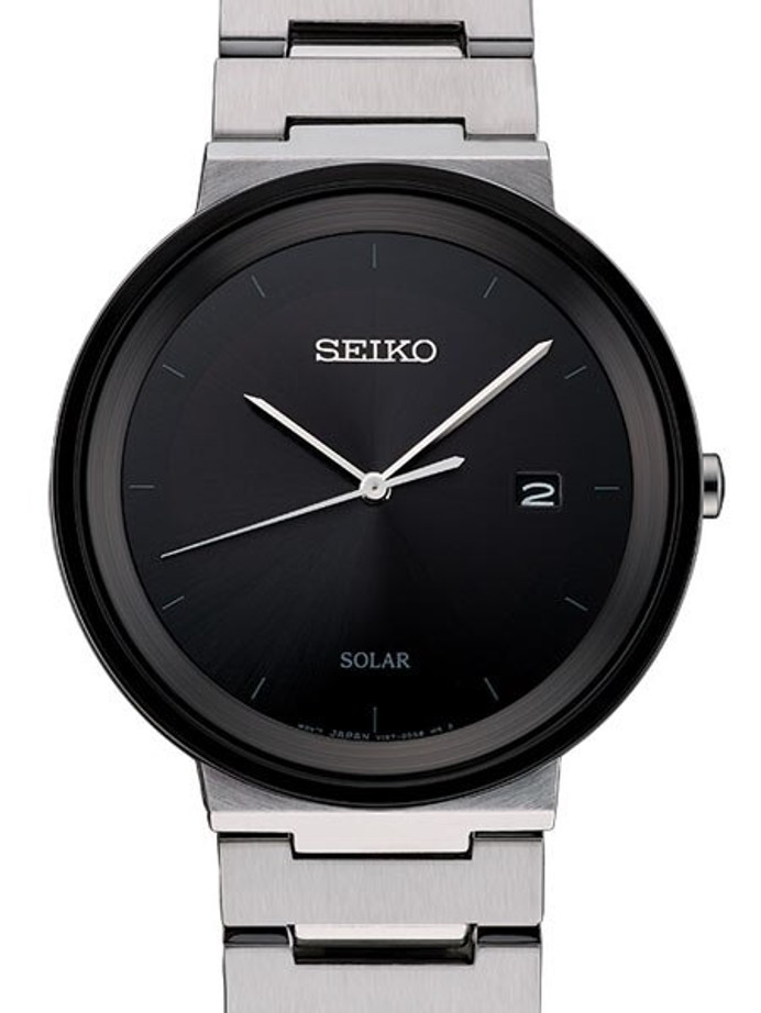 Seiko Sleek Solar Watch with 40mm Stainless Steel Case #SNE479