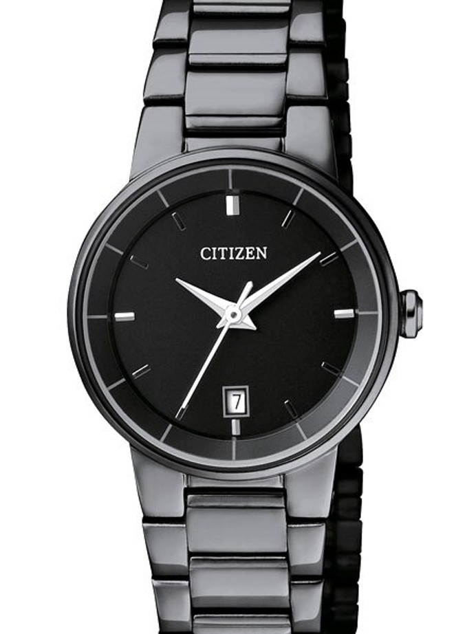 Citizen Quartz Black Ion, Thin Dress Watch with Matching Bracelet #EU6017-54E