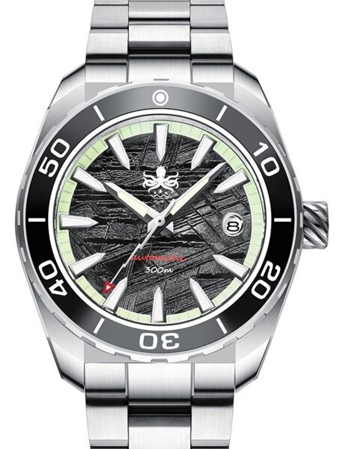 PHOIBOS Proteus 300-Meter Automatic Dive Watch with Meteorite Dial, AR Double Dome Sapphire Crystal #PY024F