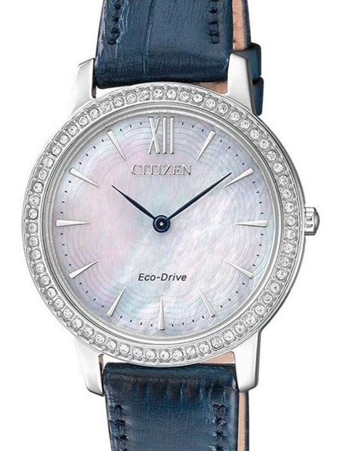 Citizen Ladies Eco-Drive Watch with MOP Dial and Swarovski Crystals #EX1480-15D