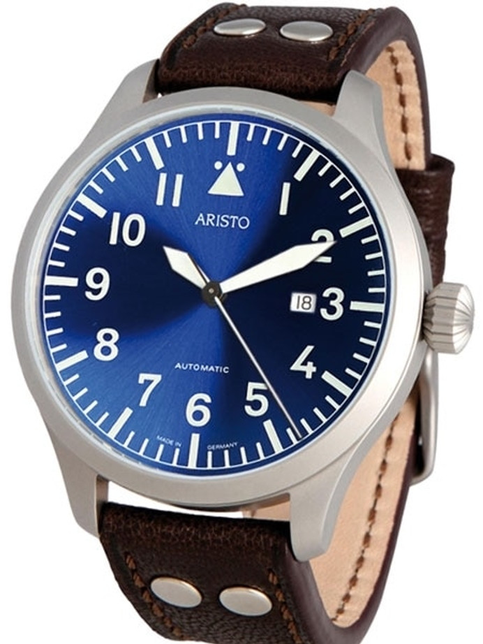Aristo 3H159 47mm Swiss Automatic Pilot's Watch with Sunburst Blue Dial