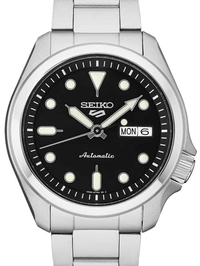 Seiko 5 Sports 24-Jewel Automatic Watch with Black Dial and SS Bracelet #SRPE55