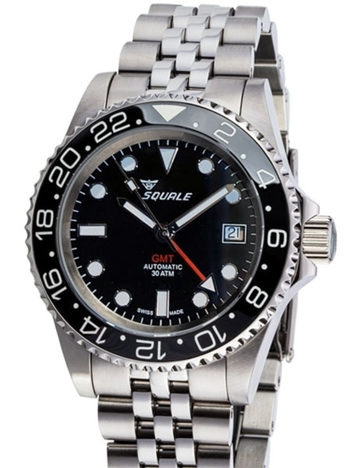 Scratch and Dent - Squale 300 meter Swiss Automatic GMT watch with Luminous Ceramic Bezel, AR Sapphire Crystal #1545GM-CER-BK 2