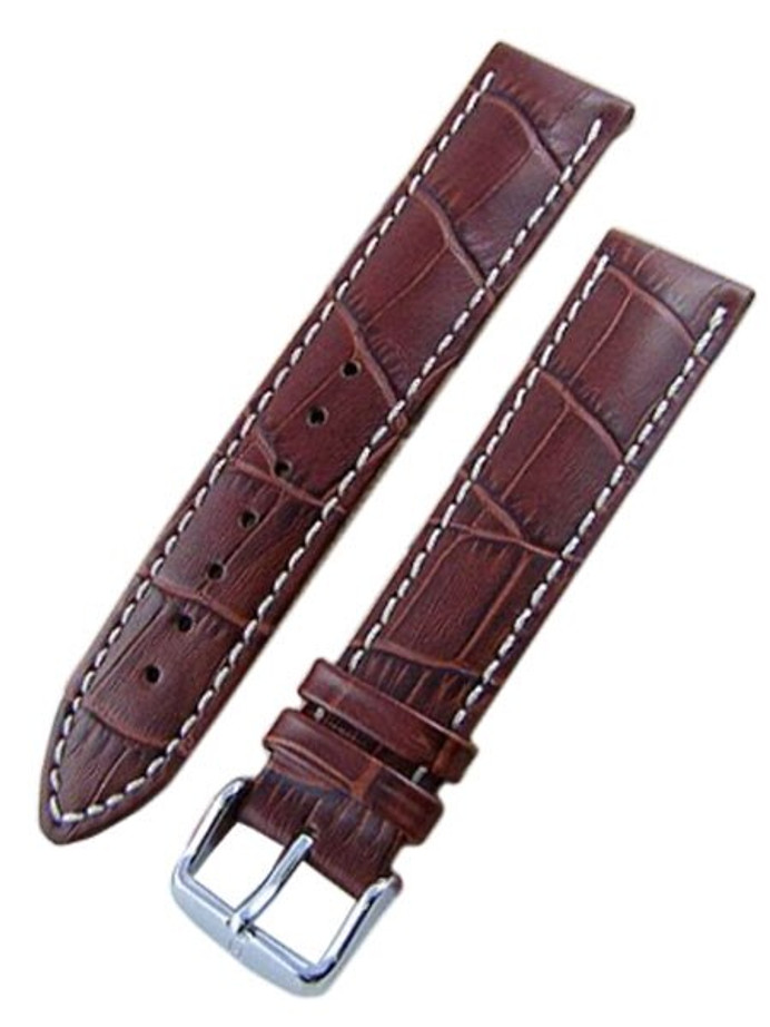 Scratch and Dent - Hirsch Modena Gold Brown Alligator Embossed Leather 22mm Watch Strap #103028-70