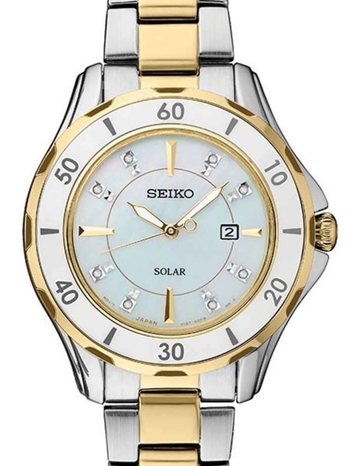 Seiko Two-Tone Women's Solar Dress Watch with MOP Dial, Goltone Hands and 8 Diamond Markers #SUT338