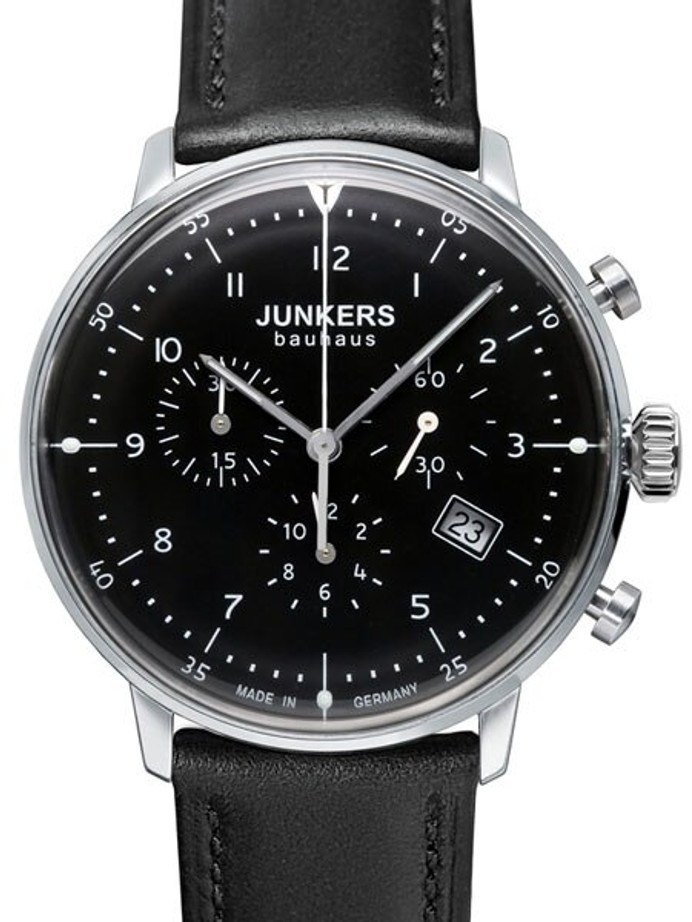 Junkers Bauhaus Swiss Quartz Chronograph with Domed Hesalite Crystal #6086-2
