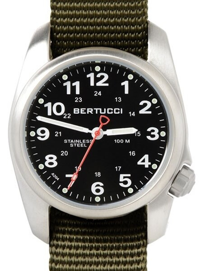 Bertucci A-1S Black Dial Stainless Steel Watch with Patrol Olive Nylon Strap #10112