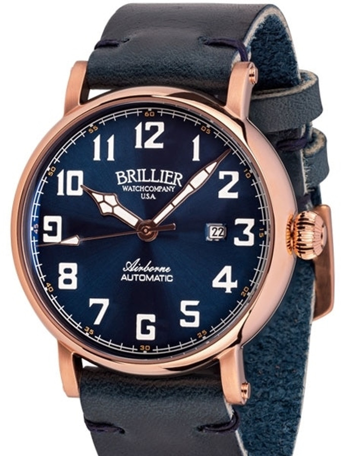 Brillier Blue 43mm Airborne Automatic Watch with Horween Leather Strap #BR-19