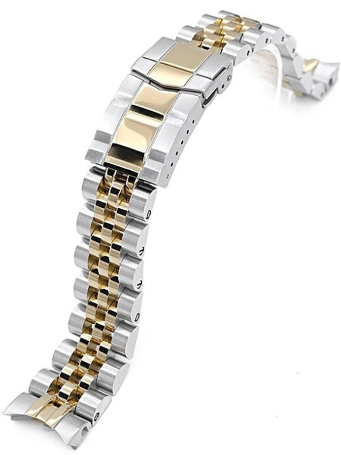 """Strapcode 20mm ANGUS-J """"Louis"""" Gold IP and 316L Stainless Steel Watch Bracelet for Seiko Alpinist SARB017 #SS201805P2G064"""