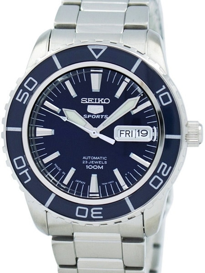 Seiko 41mm Sports 5, 23-Jewel Automatic Watch with Day and Date Window #SNZH53J1