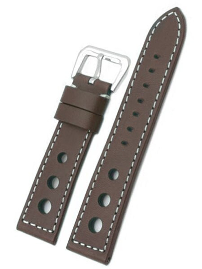 Racing Inspired, Three Hole Brown Leather Strap with Contrast Stitching #TBV3H-22780