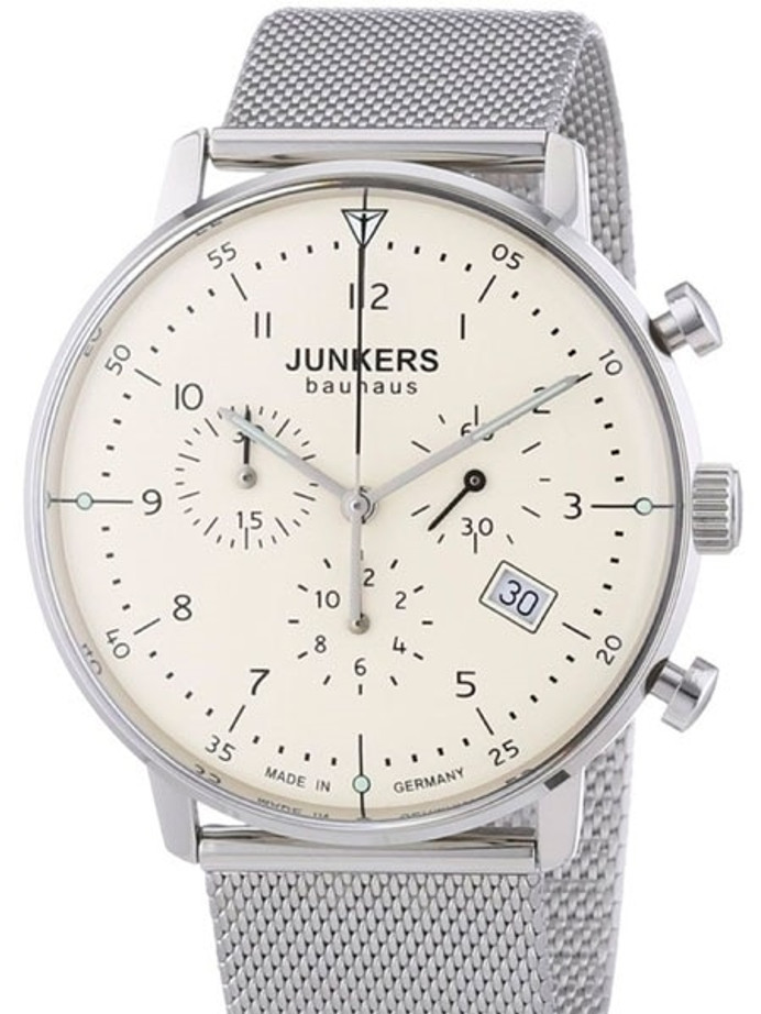 Scratch and Dent - Junkers Bauhaus Quartz Chronograph Watch with Domed Hesalite Crystal #6086M-5