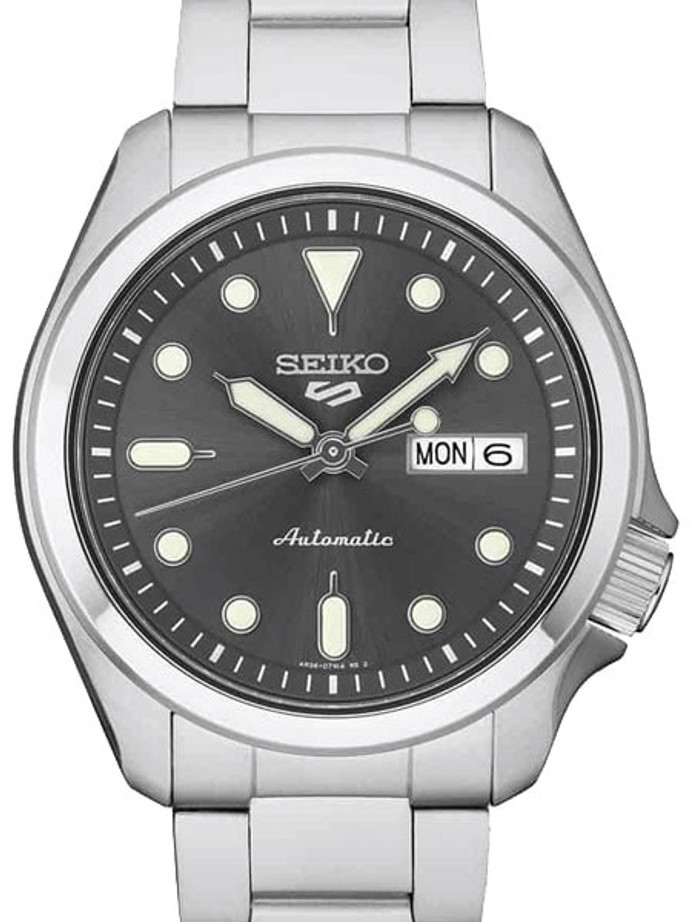 Seiko 5 Sports 24-Jewel Automatic Watch with Grey Dial and SS Bracelet #SRPE51
