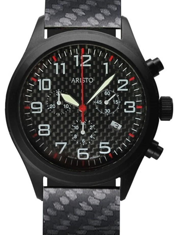 Aristo Aviator Style Quartz Chronograph Watch with Carbon Fiber Dial #0H15