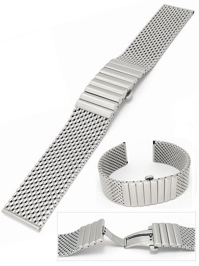 Scratch and Dent - STAIB Polished Mesh Bracelet #STEEL-2792-1192PBM-P (Straight End, 20mm)