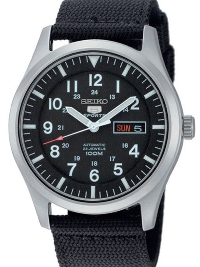 Seiko Military Black Dial Automatic Watch with 42mm Case, Black Canvas Strap #SNZG15K1