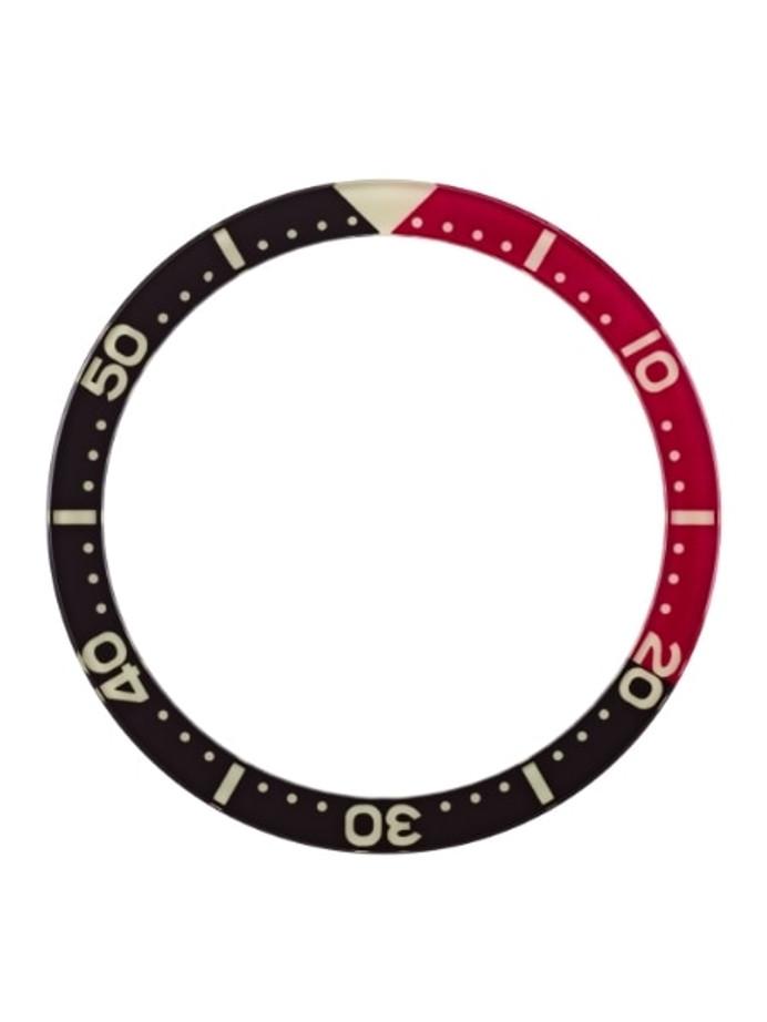 Black-Red Luminous Sapphire Bezel Insert for Seiko SKX007, SKX009, SKX011 #C22