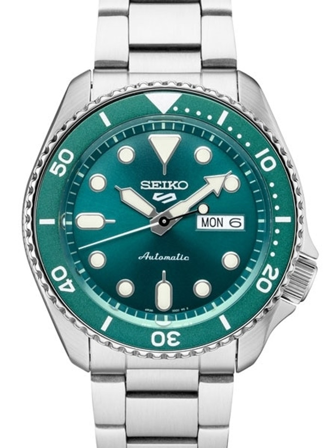 Seiko 5 Sports 24-Jewel Automatic Watch with Green Dial and SS Bracelet #SRPD61