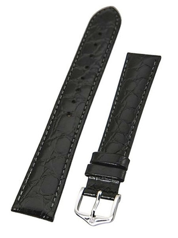 Hirsch Black Crocograin Embossed Natural Leather Watch Strap #123228-50