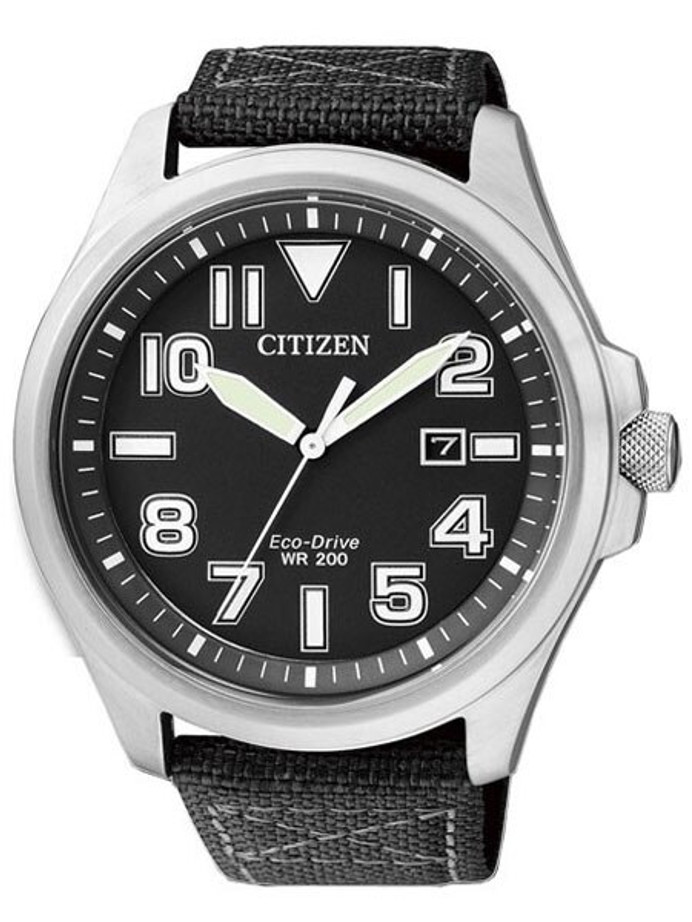 Citizen Military Watch Eco-Drive Black Dial with Black Nylon Strap #AW1410-24E