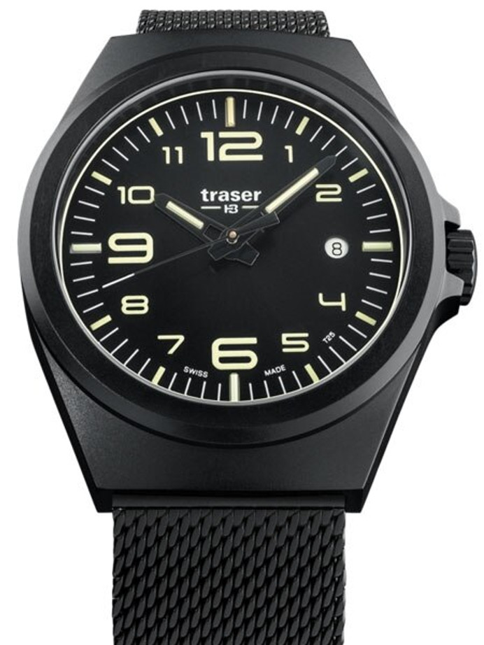 Traser P59 Essential M Black Dial Watch w/Trigalight + SuperLuminova #108206