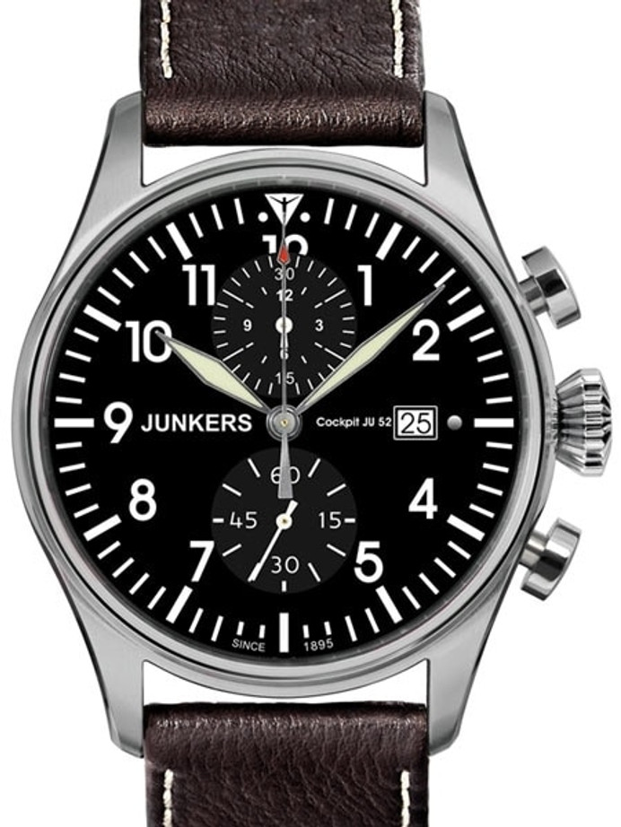 Scratch and Dent - Junkers Cockpit JU52 Quartz Chronograph Watch, Sapphire Crystal #6178-2