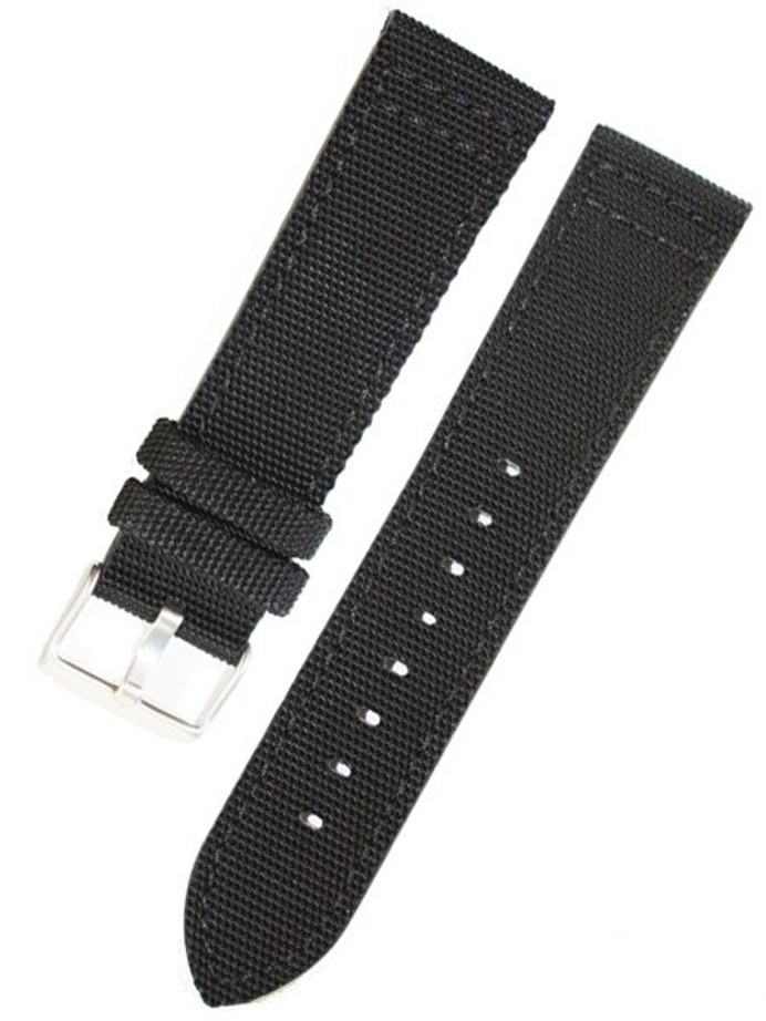 Toscana Black Canvas with Leather Backing Watch Strap #INS-CAN30