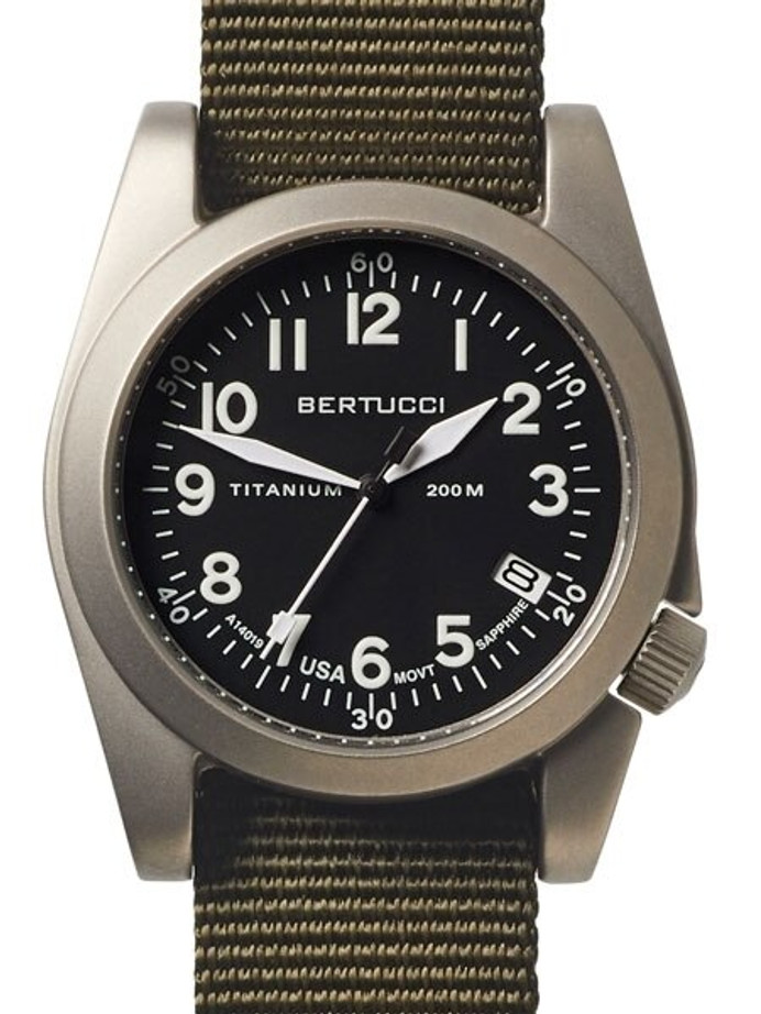 Bertucci  A-11T Americana Titanium Watch with Olive Nylon Strap #13331